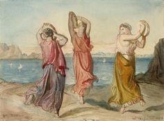 Théodore Chassériau - Trois femmes dansant et jouant du tambourin, au bord d'un rivage
