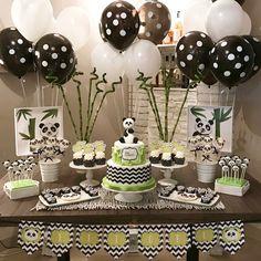 Panda Birthday Cake, Baby Boy 1st Birthday, Boy Birthday Parties, Birthday Party Decorations, Baby Shower Parties, Baby Shower Themes, Baby Boy Shower, Baby Shower Decorations, Panda Themed Party