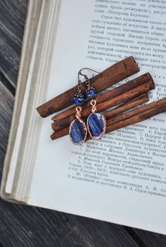 Electroformed earrings with lapis lazuli, natural stone in copper frame, electroform OOAK earrings, handmade lapis jewelry, copper dipped
