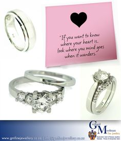 "Visit Gerhard Moolman Fine Jewellery and experience the personal touch when it comes to your distinctive piece of jewellery. For any queries please contact us at info@gmfinejewellery.co.za or visit our website www.gmfinejewellery.co.za  ""If you wan to know where your heart is ... look where your mind goes when it wanders!"""