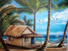 "Cuban Art ""Paradise Beach "" Oil painting Signed by Artist. Oil Painting On Canvas, Canvas Art, Canvas Signs, Photo Canvas, Cuban Art, Caribbean Art, Tropical Art, Tropical Paradise, Landscape Paintings"