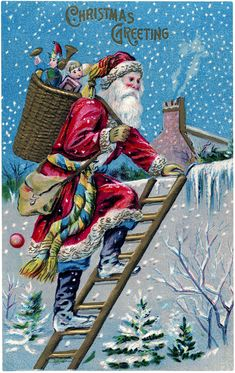 Vintage Santa on Roof Image - The one you Voted For! - The Graphics Fairy