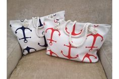 Extra Large Anchor Canvas Beach Tote Bag - 2 Colors