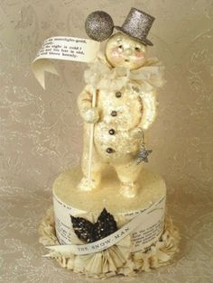 Folk Art Snowman Box Parade Stick Figurine Bethany Lowe