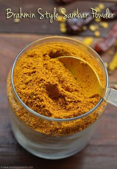 Sambar Powder Recipe - Homemade Sambar Podi (Brahmin Style- Brahmin style Sambar Powder Recipe Source by nvinomsc - Sambhar Recipe, Podi Recipe, Masala Powder Recipe, Masala Recipe, Homemade Spices, Homemade Seasonings, Barbacoa, Masala Spice, Garam Masala
