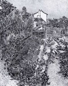 Vincent van Gogh Garden with Flowers August 1888, Arles Reed pen and ink, 610 x 490 mm, private collection