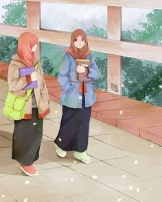 Kumpulan Kata Muslimah Memotivasi - Jutaan Gambar Friend Cartoon, Girl Cartoon, Cute Cartoon, Cute Muslim Couples, Muslim Girls, Deviantart Drawings, Hijab Drawing, Girly M, Islamic Cartoon