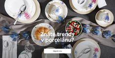 Znáte trendy v porcelánu? XXXLutz vám přináší vkusné porcelánové nádobí v dekorech, které odpovídají nejnovějším trendům: talíře s květinovými motivy, jídelní servisy s minimalistickým geometrickým vzorem, kombinované servisy s hranatými talíři, nádobí v rustikálním stylu a další. Samozřejmě u nás najdete i klasický bílý porcelán – ten je totiž moderní v každé době. Trendy, Decorative Plates, Elegant, Design, Home Decor, Classy, Decoration Home, Room Decor