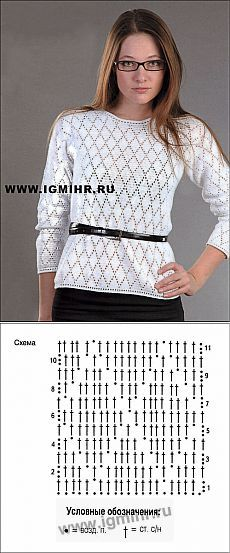 Стильно и лаконично! Белый пуловер с узором из ромбов.