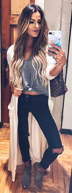 #winter #fashion /  White Maxi Trench / Grey Top / Black Destroyed Skinny Jeans / Grey Booties
