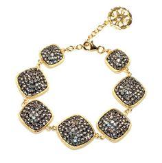 Black Diamond Crystal Multi Square Chain Bracelet