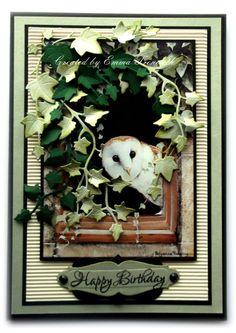 docrafts.com.   Male card using pollyanna pickering beautiful owl image, joanna sheen ivy dies.