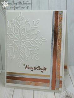 I used the Stampin' Up! Season to Sparkle stamp set, the Winter Wonder Embossing Folder and a little of the Year of Cheer Specialty Washi Tape from the upcoming 2017 Holiday Catalog to create a clean Christmas Cards 2017, Diy Holiday Cards, Stamped Christmas Cards, Stampin Up Christmas, Noel Christmas, Xmas Cards, Christmas Snowflakes, Cards Diy, Greeting Cards