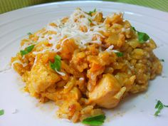 Smetanové rizoto s kari recept - TopRecepty. Fried Rice, Risotto, Fries, Food And Drink, Chicken, Meat, Cooking, Ethnic Recipes, Arizona