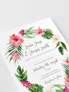 Tropical Wedding Invitation, Tropical Wedding, Destination Wedding, Hibiscus, Beach Wedding, Hawaii Wedding, Wedding Abroad, - SAMPLE