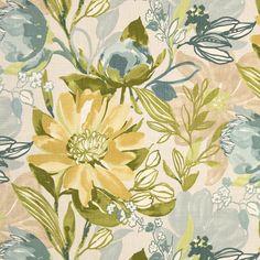 Aqua Yellow Floral Upholstery Yardage - Woven Heavyweight Fabric - Aqua Home Decor - Padded Headboard Fabric - Furnishing Material