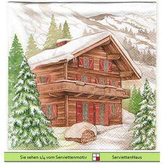 Winterliches Haus in den Bergen - 4 Servietten