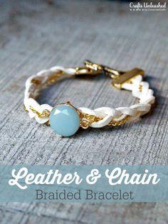 Chain Bracelet Tutorial: DIY Braided Leather by wanting Braided Leather, Leather Chain, Leather Jewelry, Beaded Jewelry, Chain Jewelry, Bullet Jewelry, Leather Bracelets, Statement Jewelry, Jewlery