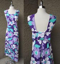 Purple Aikane Barkcloth Maxi Hawaiian Wedding Dress 70s Flower Power Style Sz M…