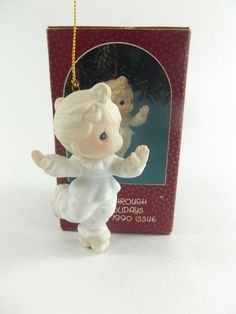 Precious Moments Glide Through The Holidays Porcelain Ornament Special 1990 Issue