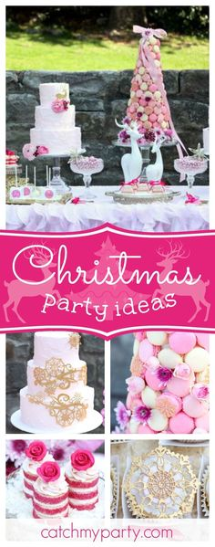a pretty pink gold christmas dessert table christmasholiday a perfectly pink christmas - Christmas Dessert Decorations