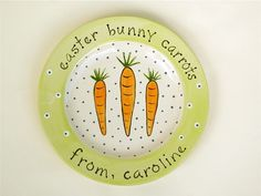 Hand Painted Personalized Carrots For The Easter Bunny Plate Baby's First Easter Basket, Easter Baskets, Pottery Painting, Ceramic Painting, Birthday Plate, Pottery Plates, Ceramic Plates, Paint Your Own Pottery, Hand Painted Plates