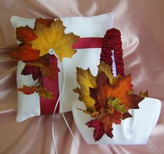 Fall Leaves Wedding Ring Bearer Pillow and Flower Girl Basket, Autumn Fall Wedding, Maple Leaves Wedding Theme. $75.00, via Etsy.
