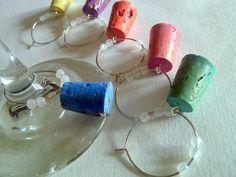 wine glass charm, miniature cork wine glass charm set, set of 6, colorful rainbow cork charms