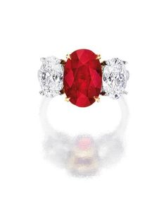 6.04 carats Burmese Ruby and Diamond Ring