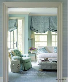 Traditional Living Room In Antique White And Aqua Blue