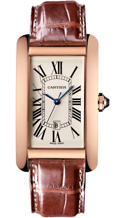 Cartier Tank Americaine Large Model 18K Pink Gold Case Brown Alligator Leather Strap Mens Watch Reference W2609156 Brand Name Watches, Sport Watches, Watches For Men, Cartier Santos, Cartier Tank Americaine, Cartier Panthere, Top Luxury Brands, Custom Jewelry Design, Gold Leather