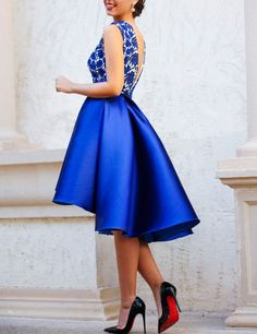 86492b4fe33e Modern V-neck Top lace Royal Blue Short Homecoming Dress Prom Party Dresses