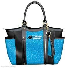 Show off your pride in style with the Touchdown Panthers! Tote Bag, a custom-designed fashion accessory only from The Bradford Exchange Nfl Panthers, Panther Logo, Carolina Panthers Football, Panther Nation, Gifts For Football Fans, A Team, Team Logo, Womens Slippers, Shoulder Bag