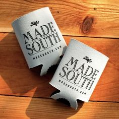 MADE SOUTH Koozies are made in Texas to keep your beverage cold and hands warm. Black on silver.