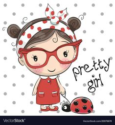 Cute cartoon girl with glasses Royalty Free Vector Image Cute Cartoon Girl, Cartoon Pics, Cartoon Drawings, Cute Drawings, Cartoon Memes, Cartoon Art, Cartoons, Cute Images, Cute Pictures