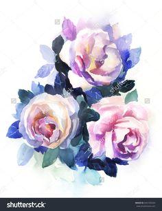 Tea roses watercolor
