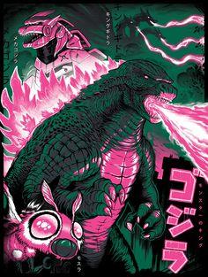 All Godzilla Monsters, Godzilla Vs, Screen Print Poster, Poster Prints, Posters, Godzilla Franchise, Strange Beasts, Japanese Monster, Japanese Art