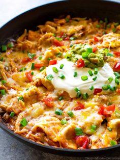 Skillet Enchiladas, Chicken Enchilada Skillet, Enchilada Casserole, Enchilada Sauce, Chicken Enchiladas, Potato Casserole, Skillet Chicken, Chicken Tamales, Casserole Recipes