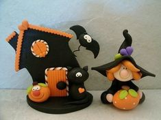 Halloween Set - Witch - Black Cat - Spooky House - Bat - Jack O Lantern - Pumpkin - Figurine Theme Halloween, Halloween Scene, Halloween Ornaments, Halloween Cakes, Halloween Decorations, Kawaii Halloween, Halloween Gifts, Polymer Clay Halloween, Polymer Clay Ornaments
