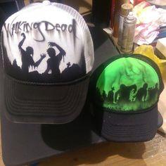 Walking dead hat zombie trucker cap - Custom Airbrush Hat #walkingdead #zombie