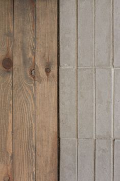 tile to wood transition Wall Patterns, Textures Patterns, Cafe Interior, Interior And Exterior, Pine Wood Flooring, Joinery Details, Wall Finishes, Wood Texture, Interior Design Inspiration