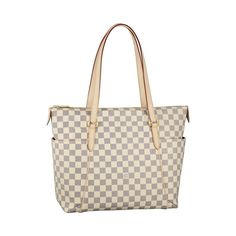 * Louis Vuitton Totally GM White Damier Azur Canvas Shoulder Bag N51263 ($210) (Favorite Makeup Christmas Gifts)