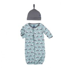 Kickee Pants Print Layette Gown Converter & Knot Hat Set - Jade Panda