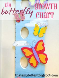 "That's My Letter: ""G"" is for Growth Chart, butterfly growth chart with picture slots"