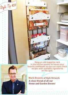 Great idea for cookbook storage! Old magazine rack Kitchen Pantry, Kitchen Decor, Kitchen Ideas, Cookbook Storage, Fashion Network, Old Magazines, Home Organization, Storage Solutions, Magazine Rack