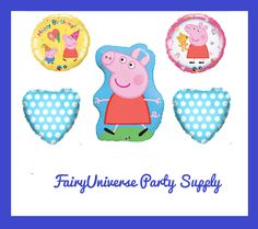 """Peppa Pig Balloon Foil Mylar Party Supplies, PEPPA PIG Birthday Party Balloon 18"""" Mylar Balloons Latex Kids Birthday Party"""