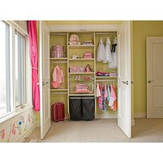 Reach In Kids Closet, Classic System in White | California Closets ❤ liked on Polyvore featuring closets, rooms and house