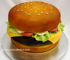 Cheeseburger Groom's Cake | http://blog.pinkcakebox.com/cheeseburger-grooms-cake-2007-10-20.htm