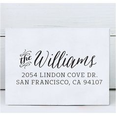 Personalized Rubber Stamp - Custom Calligraphy Stamp - Eco Mount Address Stamp - Williams