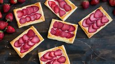 Recipe with video instructions: Whenever you are craving for something sweet, delicious but quick and easy to prepare you might consider these Strawberry Cream Cheese Pastries made with puff pastry.  Ingredients: 1 sheet ( 8oz package) puff pastry, thawed, 3 oz (100g) cream cheese, room temperature 3 tbsp (45g) sugar, 10 oz (300g) fresh strawberries, cut into slices 1 tsp (5g) vanilla extract, 1 small egg, beaten, for brushing, Powdered sugar, for serving (optional)
